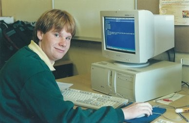 boy in computing class
